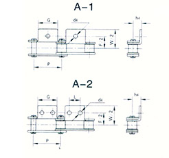 Double section conveying chain attachment